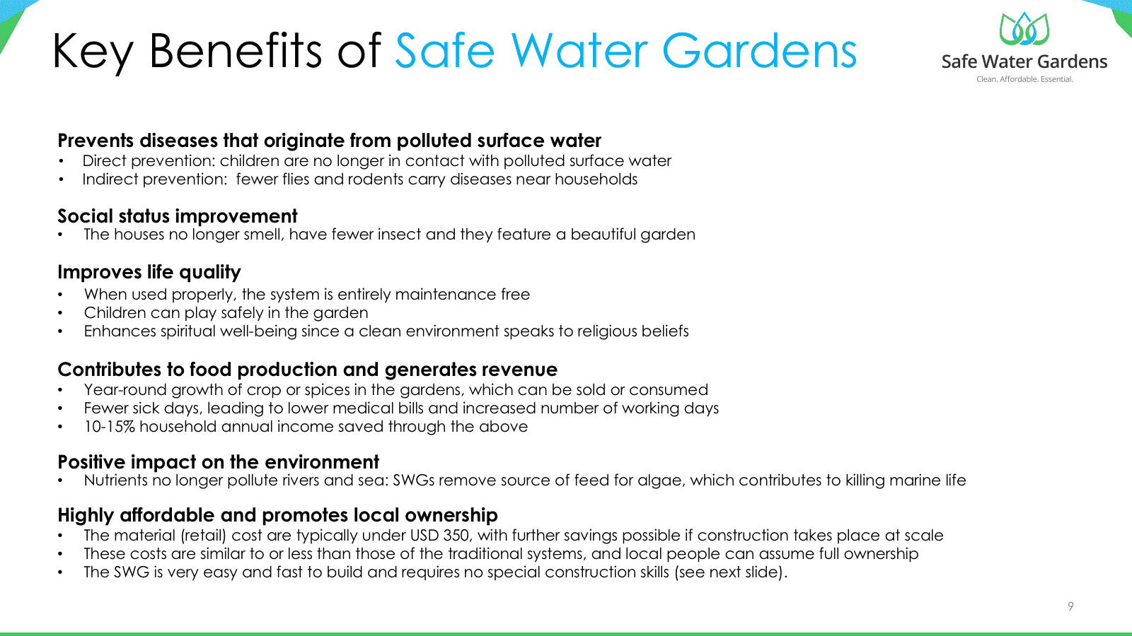 Key benefits of Safe Water Gardens