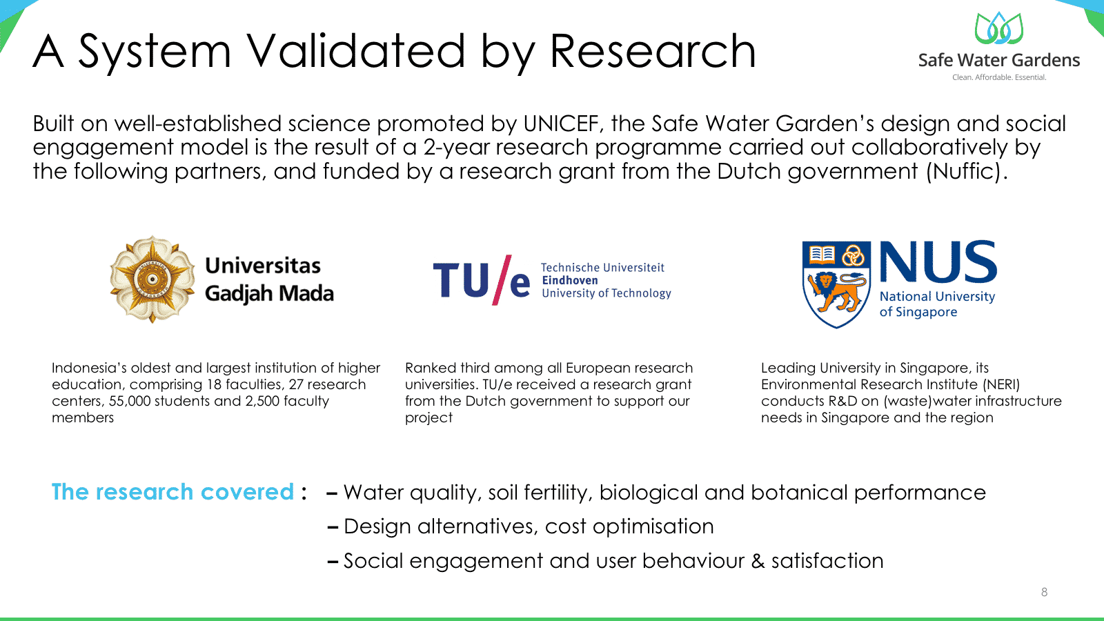 Safe Water Gardens – a system validated by research